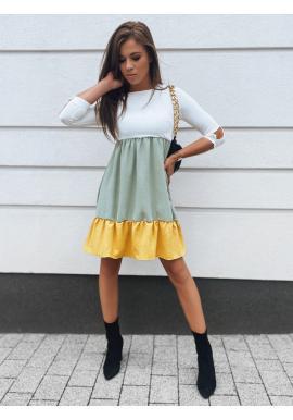 Volné tříbarevné dámské šaty s 3/4 rukávem