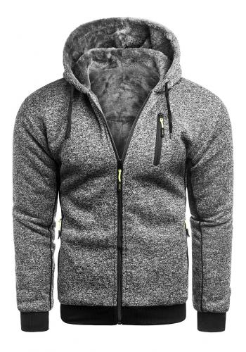 Pánská zateplená mikina s kapucí v šedé barvě