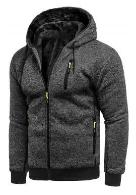 Zateplená pánská mikina tmavě šedé barvy s kapucí