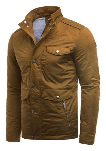 Prošívaná pánská bunda hnědé barvy na podzim