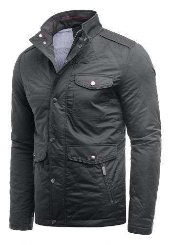 Pánská prošívaná bunda na podzim v tmavě šedé barvě