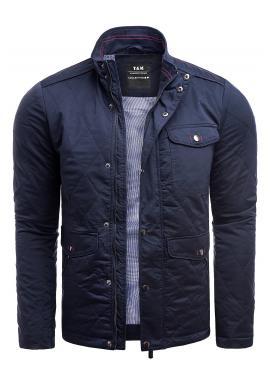 Tmavě modrá prošívaná bunda na podzim pro pány