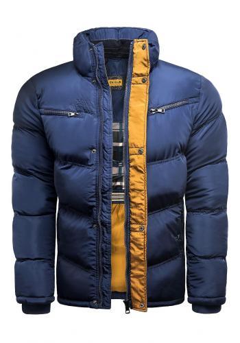 Pánská zimní bunda s prošíváním v modro-hnědé barvě