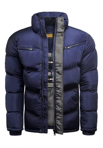 Zimní pánská bunda modro-šedé barvy s prošíváním