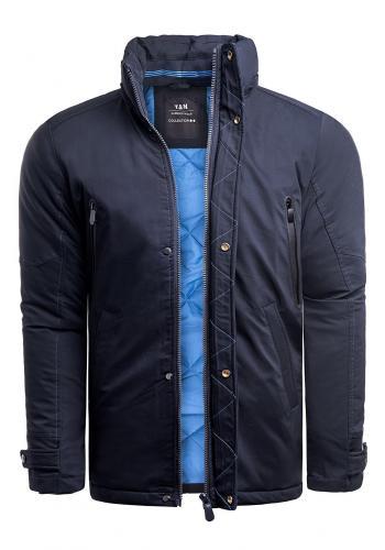 Tmavě modrá zimní bunda s kapucí pro pány