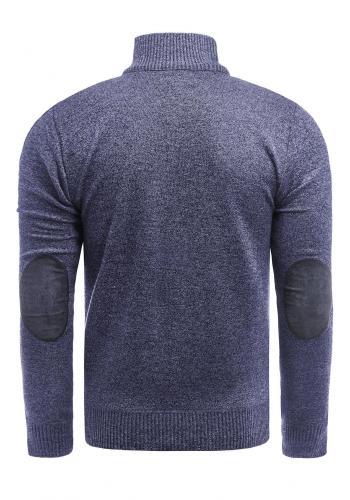 Zapínaný pánský svetr tmavě modré barvy se záplatami na loktech