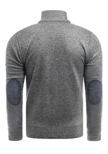 Pánský zapínaný svetr se záplatami na loktech v šedé barvě
