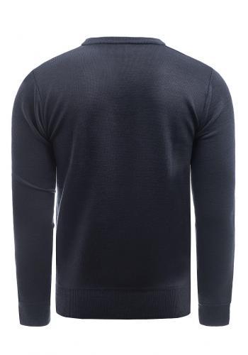 Tmavě modrý klasický svetr s véčkovým výstřihem pro pány