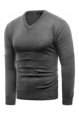 Pánské klasické svetry s véčkovým výstřihem v šedé barvě