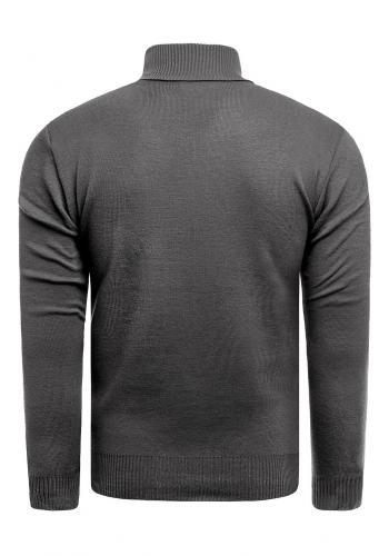 Podzimní pánský svetr šedé barvy s výstřihem na zip