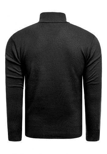 Černý podzimní svetr s výstřihem na zip pro pány