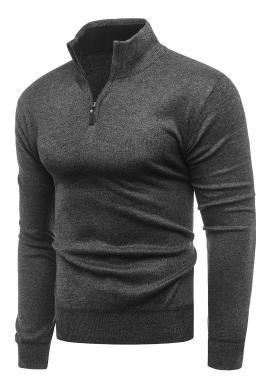 Pánský podzimní svetr s výstřihem na zip v tmavě šedé barvě