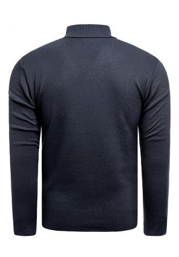 Podzimní pánský svetr tmavě modré barvy s výstřihem na zip