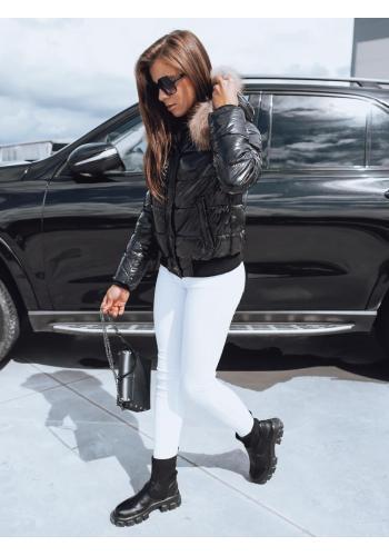 Dámská lesklá prošívaná bunda s kapucí v černé barvě