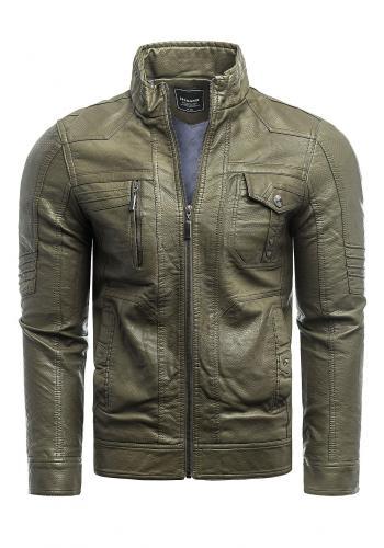 Zelená kožená bunda s ozdobným prošíváním pro pány