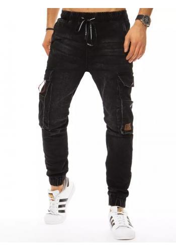 Riflové pánské kalhoty černé barvy s cargo kapsami