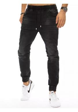 Pánské riflové kalhoty s vázáním v pase v černé barvě