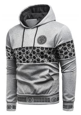 Pánská stylová mikina s potiskem v šedé barvě
