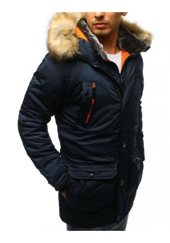 Pánská delší zimní bunda s kapucí v tmavě modré barvě