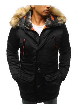 Delší pánská zimní bunda černé barvy s kapucí
