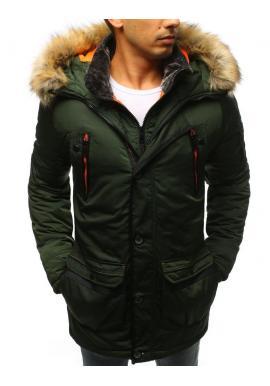 Zelená delší zimní bunda s kapucí pro pány