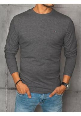 Pánské hladké tričko s dlouhým rukávem v tmavě šedé barvě