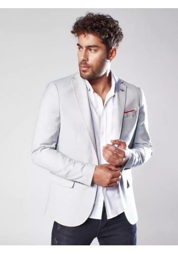 Světle šedé klasické sako s jedním knoflíkem pro pány