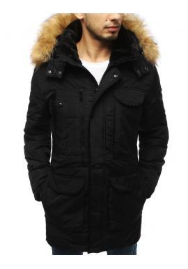 Pánská delší prošívaná bunda na zimu v černé barvě