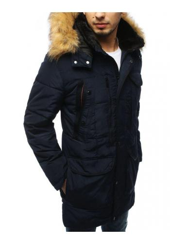 Delší pánská prošívaná bunda tmavě modré barvy na zimu