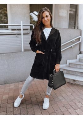 Černý teplý kabát s kapucí pro dámy