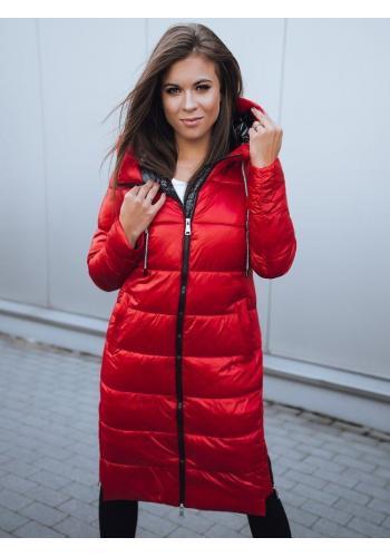 Červená dlouhá bunda na zimu pro dámy