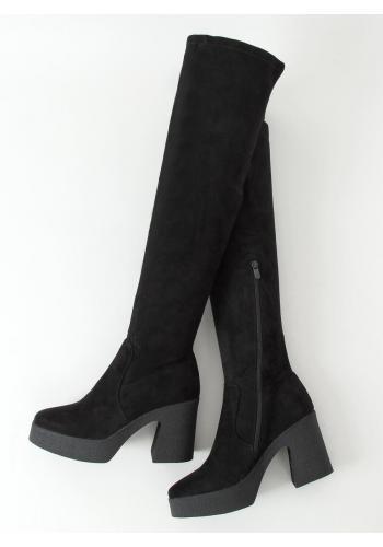 Semišové dámské kozačky nad kolena černé barvy na kaučukovém podpatku