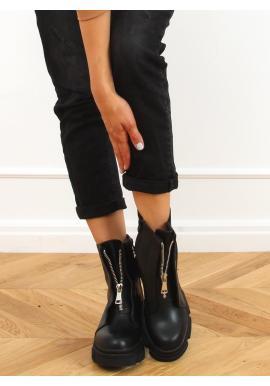 Černé módní Workery na masivní podrážce pro dámy