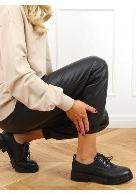 Šněrovací dámské mokasíny černé barvy s tlustou podrážkou