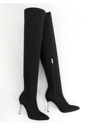 Dámské elastické kozačky nad kolena se stříbrným podpatkem v černé barvě