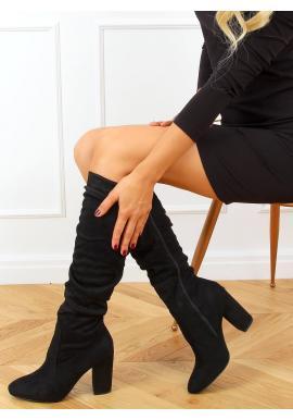 Černé nařasené kozačky na stabilním podpatku pro dámy