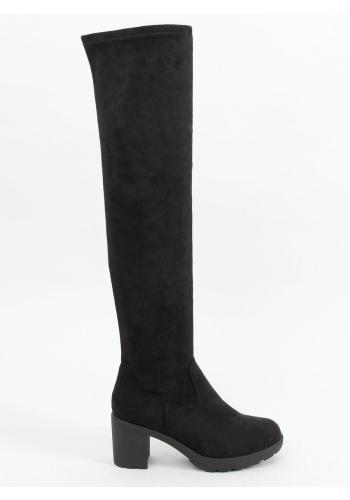 Semišové dámské kozačky nad kolena černé barvy na širokém podpatku