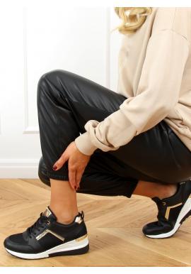 Sportovní dámské tenisky černé barvy na klínovém podpatku