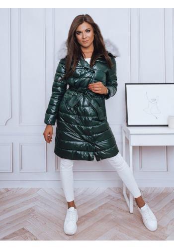 Tmavě zelená dlouhá prošívaná bunda s vázáním v pase pro dámy