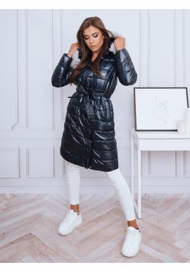 Dlouhá dámská prošívaná bunda tmavě modré barvy s vázáním v pase