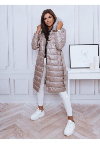 Béžová dlouhá prošívaná bunda s vázáním v pase pro dámy