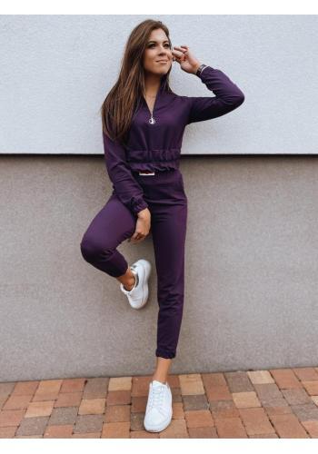 Tepláková dámská souprava mikiny a kalhot ve fialové barvě