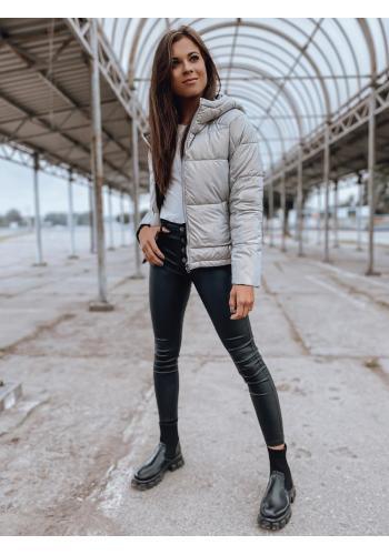 Přechodná dámská bunda šedé barvy s prošíváním