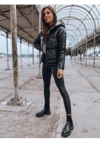 Černá přechodná bunda s prošíváním pro dámy