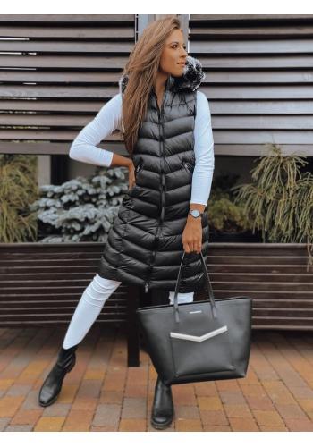 Dlouhá dámská péřová vesta černé barvy s prošíváním