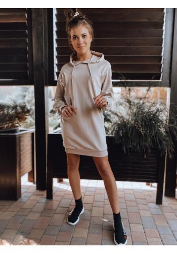 Béžové oversize šaty s ozdobným šněrováním pro dámy
