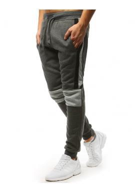 Pánské stylové tepláky s kontrastními vložkami v tmavě šedé barvě