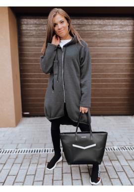 Asymetrická dámská oversize mikina tmavě šedé barvy s kapucí