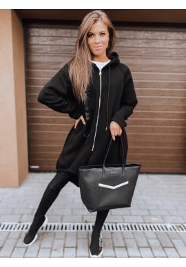 Černá asymetrická oversize mikina s kapucí pro dámy
