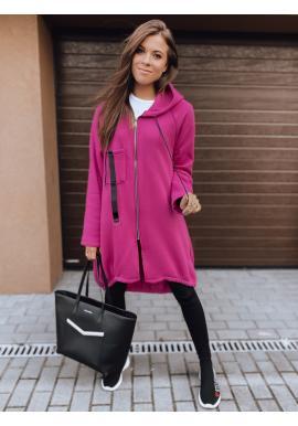 Asymetrická dámská oversize mikina růžové barvy s kapucí
